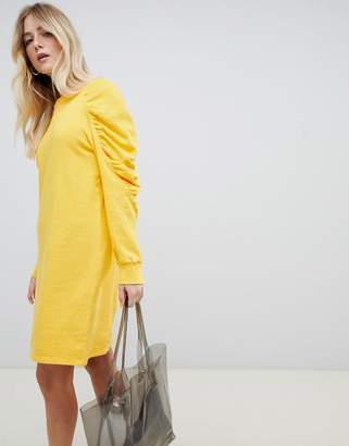 Asos Design Sweat Dress with Ruched Arms