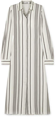 Jil Sander Striped Silk Shirt Dress - White
