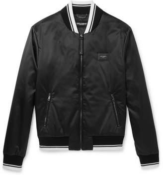 Dolce & Gabbana Stripe-Trimmed Shell Bomber Jacket - Black