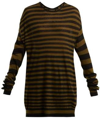 Haider Ackermann Striped Cotton And Cashmere Blend Top - Womens - Khaki Stripe