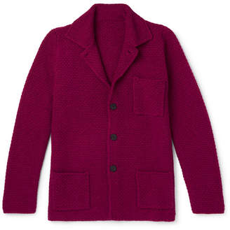 Anderson & Sheppard Slim-Fit Textured Wool And Cashmere-Blend Cardigan