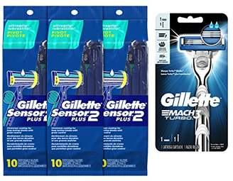Gillette Gillete Sensor2 Plus Disposable razor 10 count with Mach3 Trubo Razor