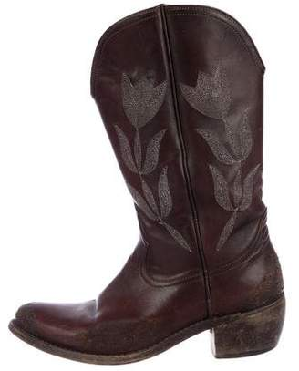 Golden Goose Distress Mid-Calf Leather Boots
