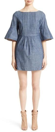 Women's Burberry Michelle Bell Sleeve Chambray Dress