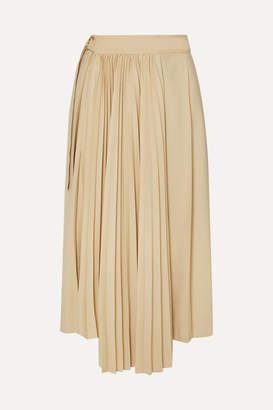 BEIGE Frankie Shop - Yoyo Asymmetric Pleated Tencel And Cashmere-blend Wrap Skirt