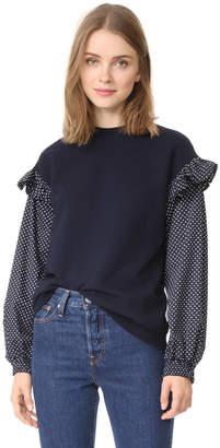 Clu Clu Too Polka Dot Sleeve Sweatshirt $209 thestylecure.com