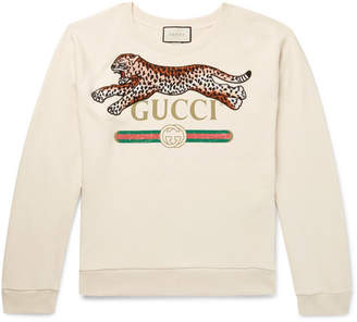 Gucci Appliquéd Logo-Print Loopback Cotton-Jersey Sweatshirt