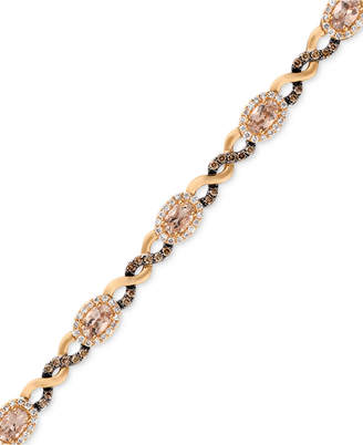 LeVian Le Vian Morganite (1-1/2 ct. t.w.) and Diamond (1-1/8 ct. t.w.) Link Bracelet in 14k Rose Gold