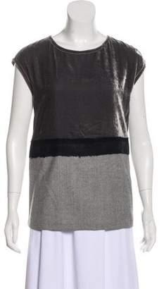 Fendi Velvet-Paneled Sleeveless Top