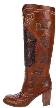 Anna Sui Leather Knee-High Boots