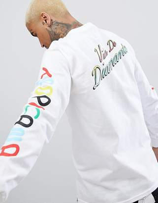 Diamond Supply Co. tropicana long sleeve t-shirt with sleeve print in white