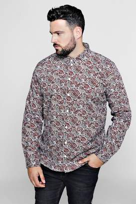 boohoo Big And Tall Paisley Print Long Sleeve Shirt