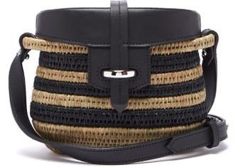 Khokho - Jabu Leather Trimmed Striped Mini Basket Bag - Womens - Black Cream