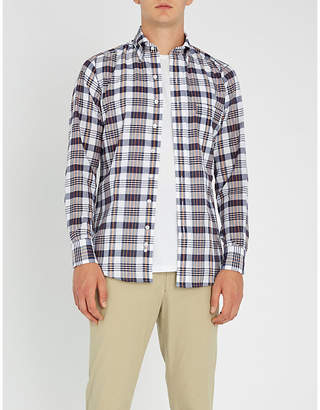 Drakes Checked slim-fit cotton shirt