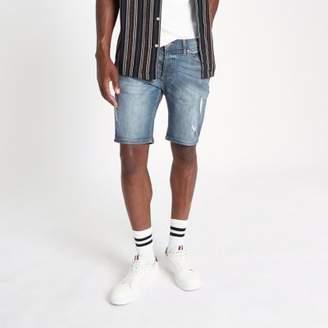 River Island Mid blue Sid ripped skinny fit denim shorts