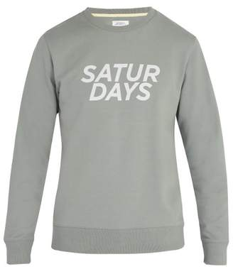 Saturdays NYC Bowery Printed Cotton Sweatshirt - Mens - Blue