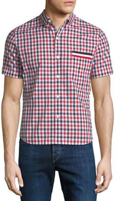 Moncler Gamme Bleu Camicia Short-Sleeve Checked Sport Shirt