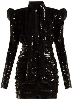 Puff Sleeve Sequinned Mini Dress - Womens - Black