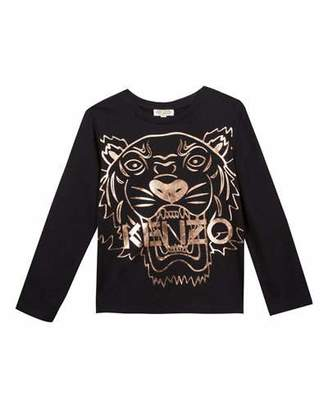 Kenzo Metallic Tiger Face Icon Long-Sleeve T-Shirt, Size 4-6