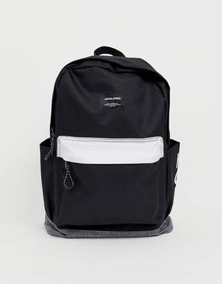 Jack and Jones contrast backpack in monochrome with branding