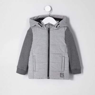 Mini boys grey jersey sleeve vest jacket