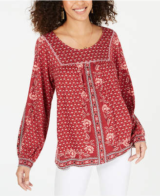 Style&Co. Style & Co Petite Printed Peasant Top
