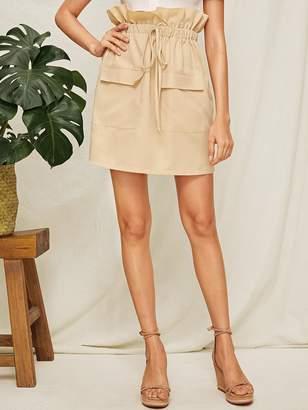Shein Paperbag Waist Flap Pocket Skirt