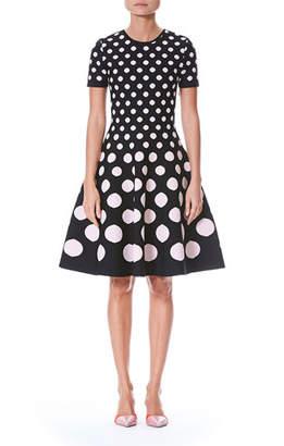 Carolina Herrera Polka-Dot Short-Sleeve Fit-and-Flare Knit Dress