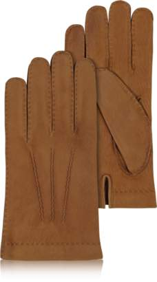Forzieri Men's Cashmere Lined Brown Italian Calf Leather Gloves