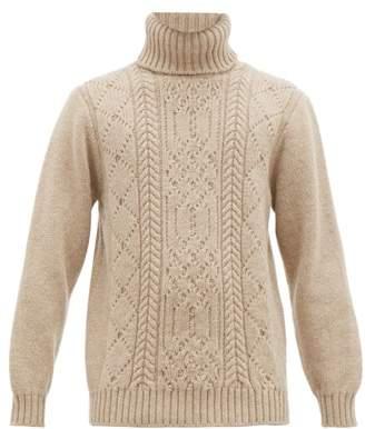 Inis Meáin Aran Patterned Merino Wool Roll Neck Sweater - Mens - Beige