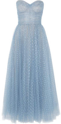 Monique Lhuillier Crystal-embellished Tulle Gown - Sky blue