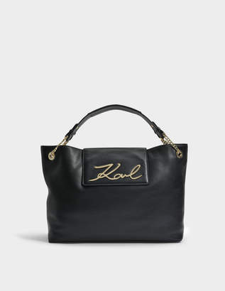 Karl Lagerfeld K/Signature Klassik Soft Shopper Bag in Black Smooth Calf Leather