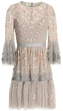 Embellished Embroidered Tulle Mini Dress