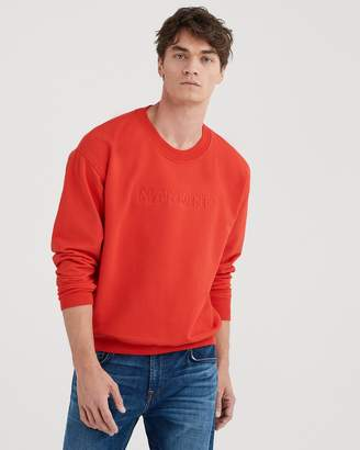 7 For All Mankind Mankind Flat Embroidery Crewneck in High Risk Red