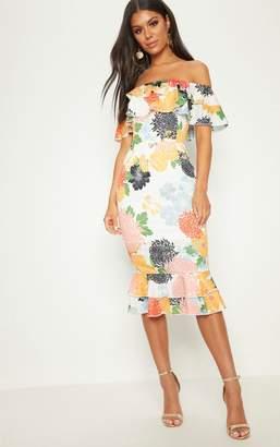 PrettyLittleThing White Oriental Floral Print Frill Bardot Midi Dress