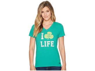 Life is Good Clover Life Crusher Vee Women's T Shirt