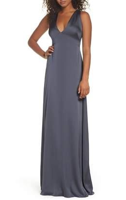 Monique Lhuillier BRIDESMAIDS Dasha Tie Back Sateen Gown