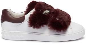 Ash 'Panda' faux fur strass leather sneakers