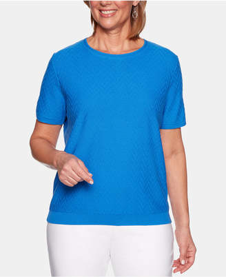 Alfred Dunner Petite Classic Short-Sleeve Sweater