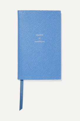 Smythson Panama Make It Happen Textured-leather Notebook - Sky blue