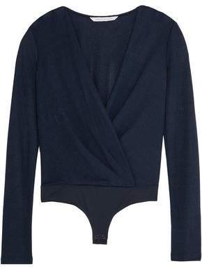 Diane von Furstenberg Lala Wrap-effect Crepe And Stretch-jersey Bodysuit