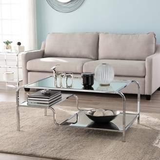 Southern Enterprises Vivene Contemporary Mirrored Cocktail Table