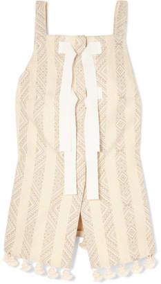 Altuzarra Archie Grosgrain-trimmed Tasseled Cotton-blend Jacquard Top