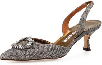 Manolo Blahnik Astis Embellished Metallic Fabric Slingback