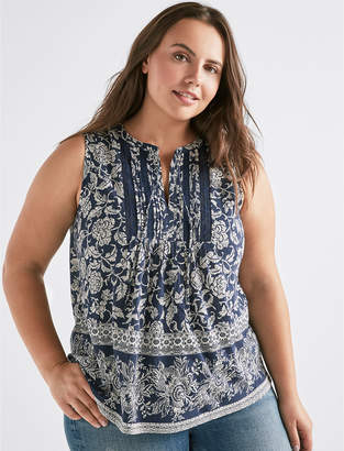 Lucky Brand V-NECK SLEEVELESS LACE MIX TOP