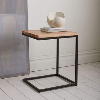 west elm Box Frame C-Base Side Table - Raw Mango/Antique Bronze