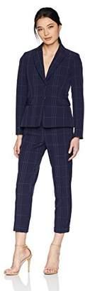 Tahari by Arthur S. Levine Women's Petite 2 Button Peak Lapel Windowpane Pant Suit