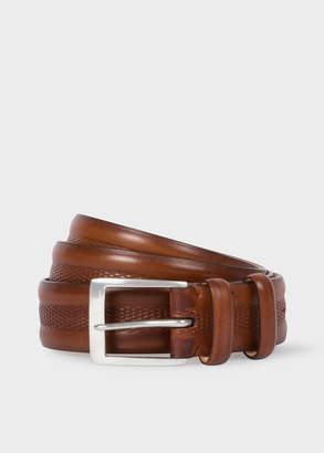 Paul Smith Men's Brown Embossed Geometric Pattern Leather Belt