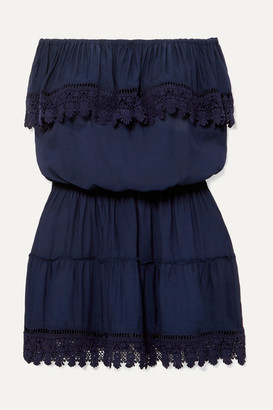 Melissa Odabash Joy Strapless Crochet-trimmed Voile Mini Dress - Navy