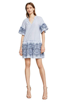 BCBGMAXAZRIA Short-Sleeve Embroidered Cotton Dress